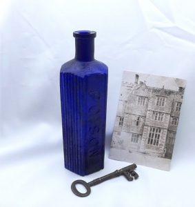 Antique huge 20 oz hexagonal cobalt poison bottle, large blue ribbed bottle embossed Poison. Victorian poison, chemist, rare pharmacy bottle