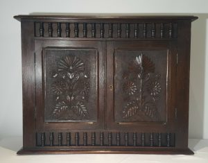 Arts & Crafts solid mahogany 2 door cupboard with internal shelf, small Victorian carved wooden cupboard, circa 1900, bathroom cabinet