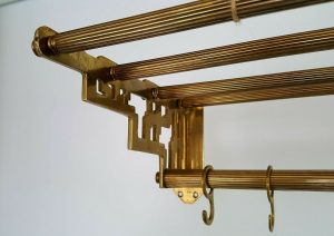 Antique brass railway carriage luggage rack, parcel shelf, coat hooks, Pullman, Orient Express style, coat rack, clothes storage, Railwayana