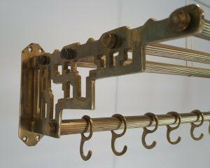 Antique brass railway carriage luggage rack, parcel shelf, coat hooks, Pullman, Orient Express style, coat rack, clothes storage, Railwayana