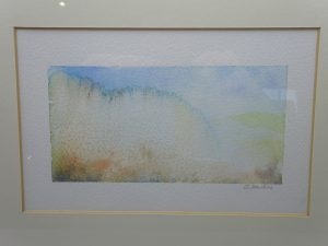 Watercolour painting 'Mist On The Creek' ~ original art by artist Amanda Hawkins, mounted & framed, calming abstract landscape, beech frame