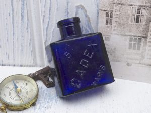 Antique French cobalt perfume bottle. Extremely rare Ste. Cadex Paris bottle, France.