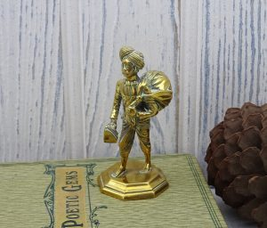Antique brass Indian figure ~ School of Art Jaipur ~ laundry man, Indian man in turban carrying sack & iron.