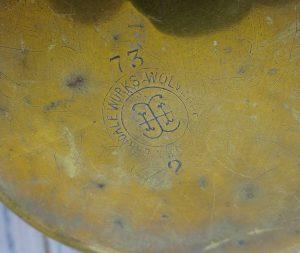 Antique brass jug by Henry Loveridge & Co, Merridale Works, Wolverhampton. Edwardian 2 pint 7 fl oz