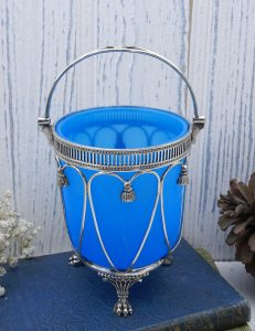 Victorian blue opaline glass lined sugar basket, silver plated sugar basket with turquoise blue glass liner, neoclassical style, claw feet