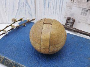 Vintage wooden puzzle ball, vintage toy, puzzles, antique wooden puzzle, children's game, early 20th century puzzle, nursery decor, mantique