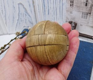 Vintage wooden puzzle ball, vintage toy, puzzles, antique wooden puzzle, children's game, early 20th century puzzle, nursery decor, mantique