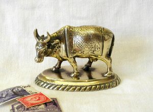 Brass Indian Holy Cow attributed to The School of Art Jaipur