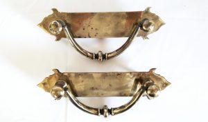 Antique pair heavy bronze Georgian style door pulls