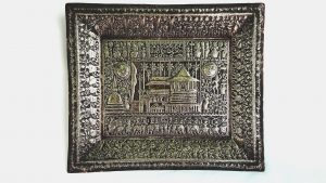 Antique Sri Lankan brass repousse tray, superb detail, Sri Dalada Perahara