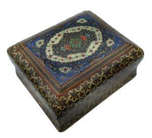 Vintage Middle Eastern Khatam marquetry inlaid, micro mosaic trinket box, Sadeli jewellery box, Asian art, Islamic art, hand made mosaic box