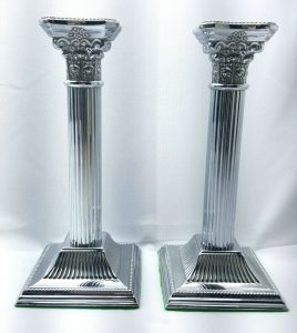 Silver plated vintage pair of Corinthian candlesticks EPNS