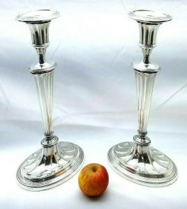 "Regency Adam style oval silver plated candlesticks, 12"" Old Sheffield Plate candlesticks"