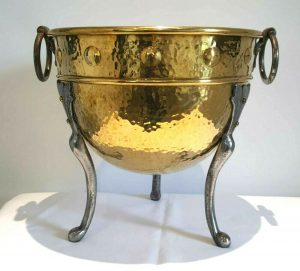 Arts & Crafts brass and iron wine cooler or jardiniere by Henry Loveridge.