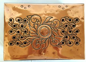 Arts & Crafts copper food warmer plate. Art Nouveau repousse copper warming plate