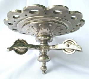 Antique large French silver plated rise & fall chandelier ceiling rose