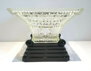 Art Deco glass table centrepiece bowl & plinth attributed to Bagley, fruit bowl, black glass pedestal, cut glass square bowl, serving dish