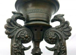 Antique French bronze pair griffin candlesticks