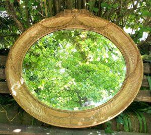 Victorian gilt oval bevelled mirror large original gesso ribbed frame Adam style, possibly Regency