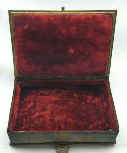 Victorian ormolu Gothic jewellery box trinket box, thistles, 19th Century red velvet lined gilt bronze Medieval style book shaped secret box
