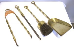 Vintage brass & copper fireplace tools