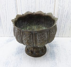 Antique Indian brass jardiniere, lotus flower shaped bowl,