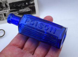 Antique cobalt blue poison bottle, 1 oz hexagonal ribbed embossed Poison.