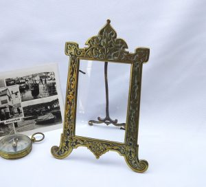 Victorian brass photograph frame, British Colonial Style, India Raj style, small brass photo frame, photo size 2.5 x 3.5""