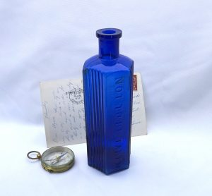 Antique cobalt hexagonal Not To Be Taken poison bottle, 8 oz ribbed cobalt blue NTBT bottle