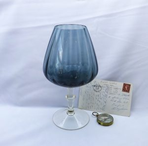 Vintage glass vase, 1950's pale blue large goblet shaped vase, decorative glass art, glass pedestal bowl