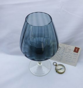 Vintage glass vase, 1950's pale blue large goblet shaped vase, decorative glass art, glass pedestal bowl