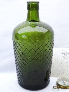 Antique green Lysol bottle, rare huge 21.5cm tall olive green Lysol bottle. Lattice pattern