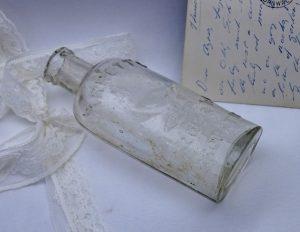 Antique clear Barrett's Mandrake Embrocation bottle, Victorian medicine bottle, headache cure, quack cure bottle, Joshua Barrett rare bottle
