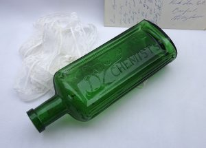 Antique green Boots The Chemists bottle, scarce ribbed Boots poison bottle