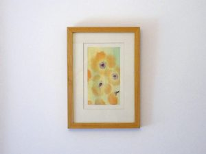 VINTAGE FLORAL PAINTING A beautiful vintage semi-abstract watercolour painting of poppies, mounted and framed.