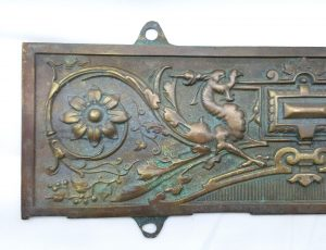 Vintage brass plaque, decorative period style brass plaque, mythical beasts cast bronze colour 17th Century style wall hanging,