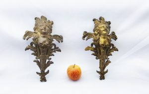 19th Century antique ormolu winged cherub furniture mounts / fittings. Gilt bronze cherubs, French ormolu cherub mounts,