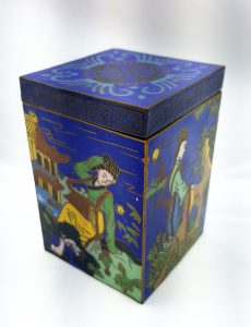 Vintage cloisonne box, square lidded caddy with colourful figural scenes. Japanese, Far East blue enamel box with turquoise interior.