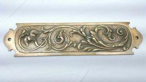 Antique Art Nouveau fine bronze finger plate by Gibbons of Wolverhampton, door plate. Period door furniture. Edwardian bronze door plate