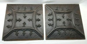 Antique Pair 17th Century Gothic carved oak panels, solid oak Medieval style fleur-de-lis panels, framed in oak, wall decor, salvaged panels