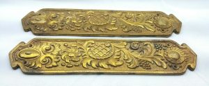 Antique English gilt brass finger plates - Richard Evered & sons, pair 19th Century ormolu door plates