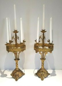 Antique French ormolu candelabras. Large pair ormolu gilt brass / bronze table candelabra, 5 arm ornate candlesticks, 19th century candles