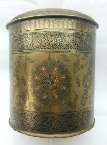 Middle Eastern large enamelled brass lidded canister or pot of stunning detail.