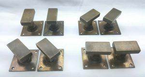 Art Deco square brass door handles, 4 pairs, 1930's unusual design 8 handles, industrial look, Art Deco utilitarian decor, rectangular knobs