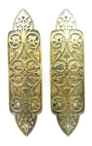 William Tonks brass finger plates, 19th Century antique W.T&S, Tonks and sons door furniture, salvaged door plates, architectural salvage