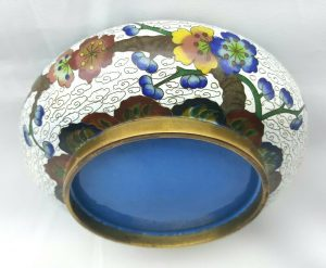 Antique cloisonne bowl with white ground and colourful floral design, low profile bowl, Japanese cloisonne dish, trinket dish, serving bowl