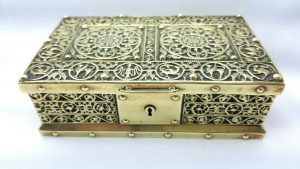Antique brass trinket box by Erhard and Sohne, Arts & Crafts mythical beasts style jewellery box, blue velvet lining, Fantasy treasure box