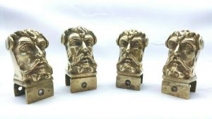Antique ormolu faun / satyr head mounts, set of 4 cast gilt brass fittings, 19th century French style ormolu mounts, mythical creature shape