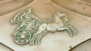 Antique French copper neoclassical dish with Roman chariot scene