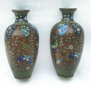 Antique pair Japanese cloisonne vases